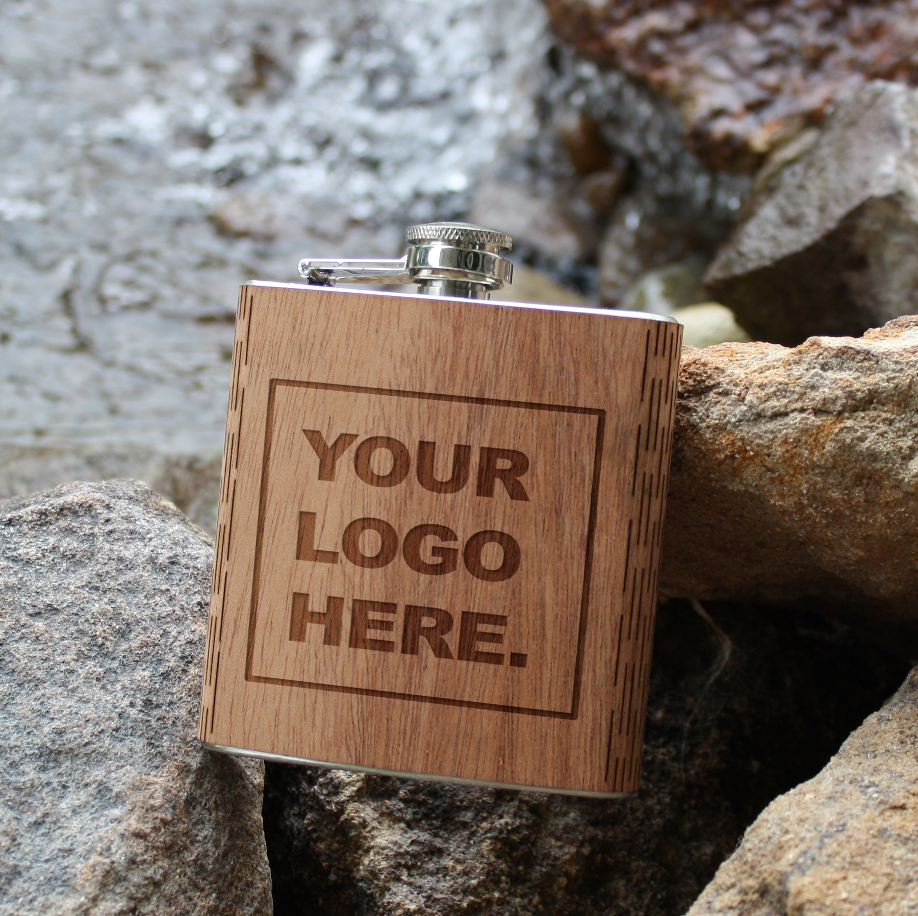 6 oz. wooden hip flasks
