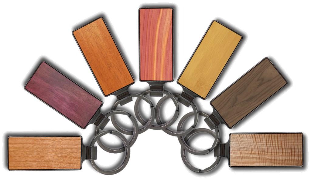 Premium Steel & Wood Keychain (rectangular)